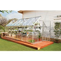 Palram 6 x 14 ft Harmony Large Silver Aluminium Apex Long Greenhouse with Polycarbonate Panels