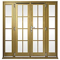 Wickes Albery Georgian Bar Solid Oak Laminate French Doors 7ft with 2 Side Lites 300mm