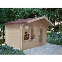 Shire 10 x 8 ft Challock Log Cabin with Overhang