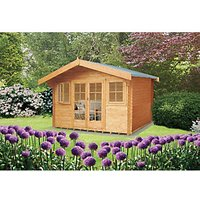 Shire 16 x 16 ft Large Clipstone Double Door Log Cabin with Overhang