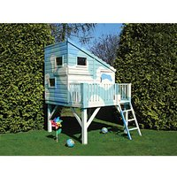 Shire 6 x 6 ft Command Post and Platform Elevated Wooden Playhouse with Balcony