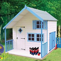 Shire 7 x 6 ft Crib and Bunk Wooden Playhouse with Double Side Door and Veranda