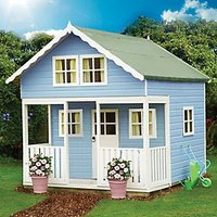 Shire 8 x 9 ft Lodge and Bunk Large Wooden Playhouse with Veranda