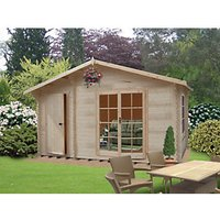 Shire 14 x 12 ft Bourne Double Door Log Cabin with Storage Room with Assembly