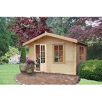 Shire Bucknells Log Cabin with Overhang - 12 x 10 ft with Assembly