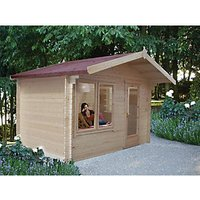 Shire 12 x 10 ft Large Challock Log Cabin with Overhang with Assembly