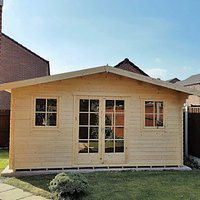 Shire 14 x 14 ft Large Clipstone Double Door Log Cabin with Opening Windows with Assembly