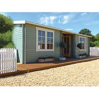 Shire 26 x 14 ft Elveden 2 Room Double Door Log Cabin with Assembly