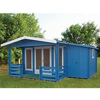 Shire 19 x 14 ft Hollington Double Door Log Cabin with Veranda and Side Storage with Assembly