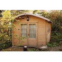 Shire 10 x 14 ft Kilburn Curved Roof Double Door Log Cabin with Assembly