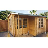 Shire 12 x 13 ft Ringwood Double Door Log Cabin with Covered Porch with Assembly