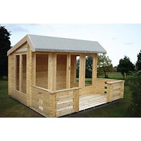 Shire 12 x 8 ft Wykenham Double Door Log Cabin with Veranda with Assembly