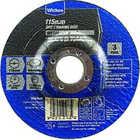 Wickes Metal Grinding Disc 115mm Pack 3