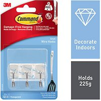 Command Utensil Hooks with Strips Clear 3 Pack