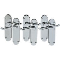Wickes Vancouver Victorian Shaped Latch Handles Pair Set Chrome Finish 3 Pack
