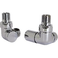 Wickes Contemporary Chrome Round Corner Radiator Valves   15mm