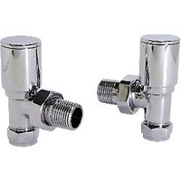 Wickes Contemporary Chrome Round Angled Radiator Valves   15mm
