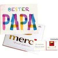 Persönliche Grußkarte mit Merci: Bester Papa (250g)