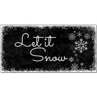 Weihnachtsdeko Schneegestöber - Schild mit Wunschtext - 300 x 150 mm schwarz