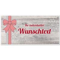 Hüttendeko-Schild mit Wunschtext und Schleife - 300 x 150mm