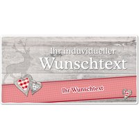 Hüttendeko-Schild mit Wunschtext und Hirsch - 300 x 150mm