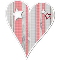 Hüttendeko-Herz mit Sternen - 180 mm