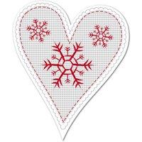 Hüttendeko-Herz mit Schneeflocken - 180 mm