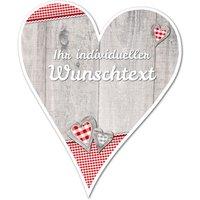 Hüttendeko-Herz mit Wunschtext und Herzen - 180mm