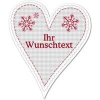 Hüttendeko-Herz mit Wunschtext und Schneeflocken - 180mm