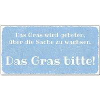 Aluschild im Vintage Look mit Wunschtext 300 x 150mm hellblau