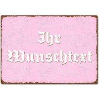 farbiges Blechschild mit Wunschtext A4 rosa