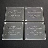 4er Set Untersetzer mit Namen aus Acryl 10 x 10cm