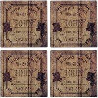 4er Set Untersetzer für Whiskygenießer mit Wunschnamen Design 2