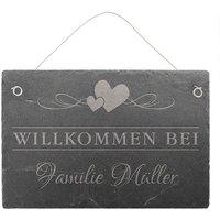 Willkommensschild aus Schiefer mit Familiennamen 30 x 20 cm - Design Love