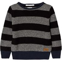 Pepe Jeans Grey and Charcoal Stripe Chunk Knit Jumper 7 years