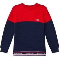 Lacoste Red and Navy Colour Block Branded Knit Jumper 5 years