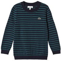 Lacoste Navy and Green Stripe Branded Knit Jumper 4 years