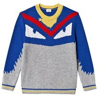 Fendi Grey and Blue Monster Knit Intarsia Jumper 12 years