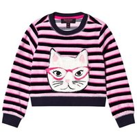 Juicy Couture Pink and Navy Faux Fur Cat Face Jumper 23 years