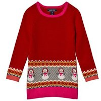 Lands39 End Red Happy Snowman Oversized Sweater M (56 years)