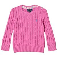 Ralph Lauren Hot Pink Cotton Cable Jumper 2 years