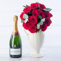 12 Opulent Red Roses & Bollinger Champagne