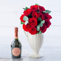 12 Opulent Red Roses & Laurent Perrier Rose