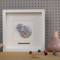 Double Circle Map Framed Picture