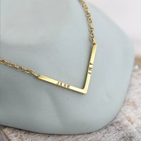 Personalised Yellow Gold Chevron Necklace