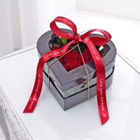 Red Rose Heart Box With Personalised Red Ribbon