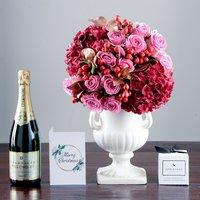 Christmas Hydrangea, Champagne & Truffles Gift Set
