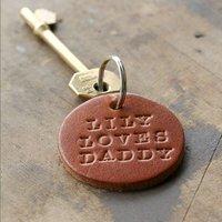 Personalised Leather Round Keyring