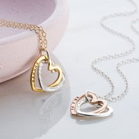 Personalised Interlinking Hearts Necklace with Gold