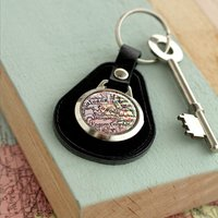 Personalised Leather Vintage Map Keyring